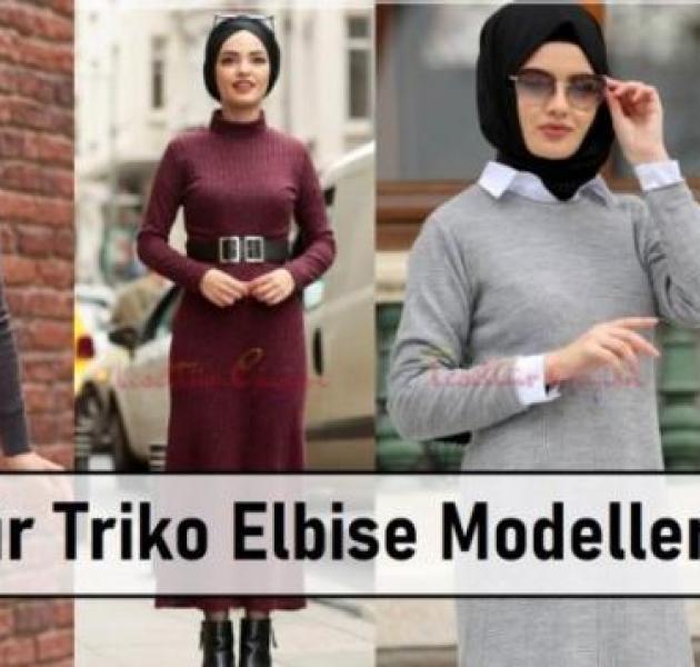 Tesettür Triko Elbise Modelleri